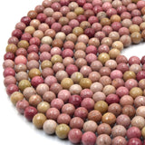 Rhodonite Beads | Faceted Pink Round Natural Gemstone Beads - 4mm 6mm 8mm 10mm 12mm