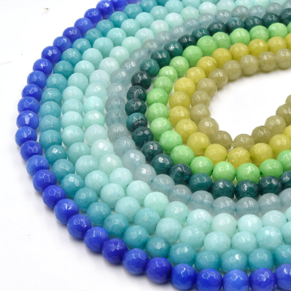 Faceted Jade Beads | 6mm Faceted Dyed Blue Teal Green Jade Round Beads with 1mm Holes - Sold by 15.5