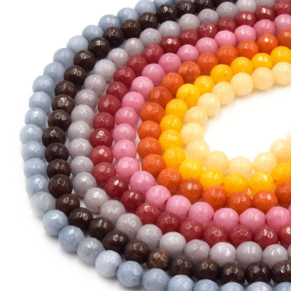 Faceted Jade Beads | 6mm Faceted Dyed Gray Brown Red Pink Orange Yellow Jade Round Beads with 1mm Holes - Sold by 15.5