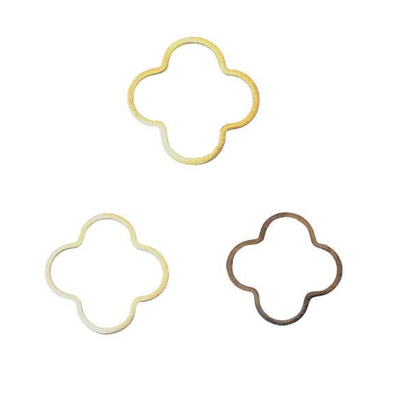 35mm Gold/Silver/Gunmetal Brushed Finish Open Quatrefoil/Clover Shaped Plated Copper Components  Sold in Pre-Counted Bulk Packs of 10 Pieces