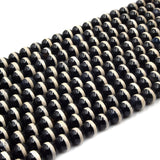 Tibetan Agate Beads | Dzi Beads | Dyed Black Glossy with Cream Stripe Round Gemstone Beads - 6mm 8mm 10mm 12mm Available