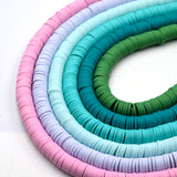 African Vinyl Beads | 8mm Pink Blue Aqua Teal Vinyl Clay Heishi Disc Beads (Approx. 350 Beads)