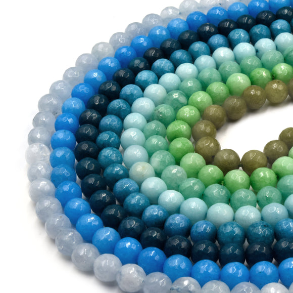 Faceted Jade Beads | 8mm Faceted Dyed Blue Teal Green Jade Round Beads with 1mm Holes - Sold by 15.5