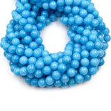 "Faceted Jade Beads | 8mm Faceted Dyed Blue Teal Green Jade Round Beads with 1mm Holes - Sold by 15.5"" Strands (~ 46 Beads)"