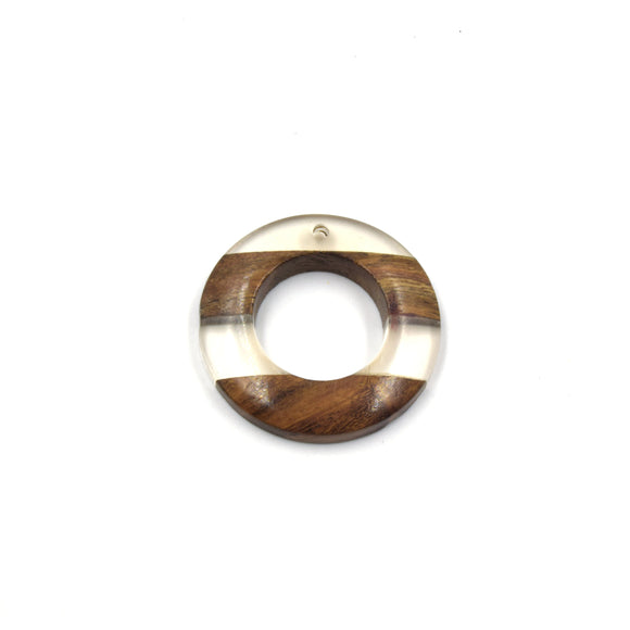 Acrylic Wood Pendants | Resin Pendants | 38mm Clear Wooden Circle Drilled Pendant