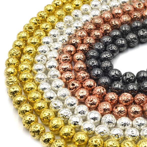 Plated Lava Beads | Gold Silver Rosegold Gunmetal | 4mm 6mm 8mm 10mm
