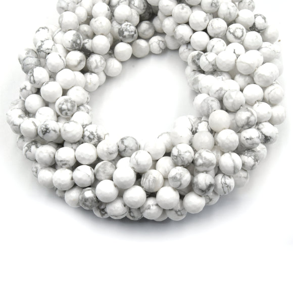 Faceted White Howlite Beads | Faceted Round Natural Howlite Beads - 4mm 6mm 8mm 10mm 12mm