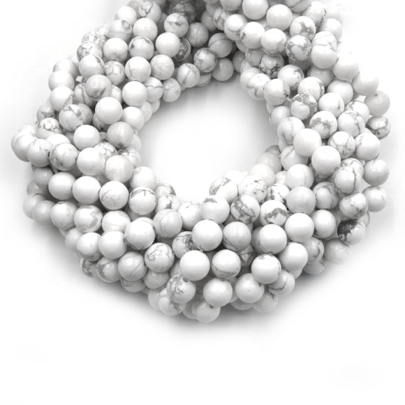 White Howlite Beads | Glossy Round Natural Howlite Beads - 2mm 4mm 6mm 8mm 10mm 12mm