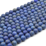 Satin Lapis Lazuli Beads | Semi-Gloss Round Natural Blue Lapis Beads - 4mm 6mm 8mm 10mm 12mm 14mm