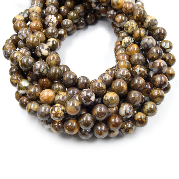 African Opal Beads | Glossy Round Natural Brown Opal Beads - 6mm 8mm