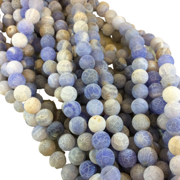 "Matte Finish Smooth Round Pale Blue Crackle/Veined Agate Beads | 10mm 14mm | 15"" Strand (Approximately 39 Beads)"