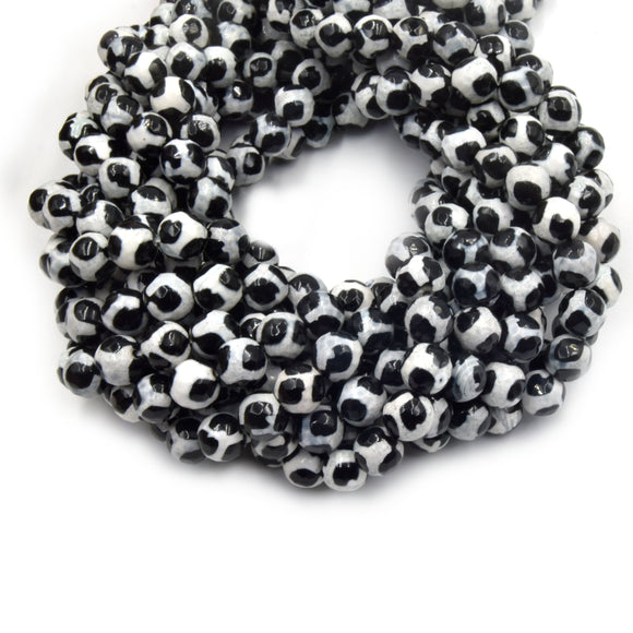 Tibetan Agate Beads | Dzi Beads | Dyed Black Faceted White Spotted Round Gemstone Beads - 6mm 8mm 10mm 12mm Available