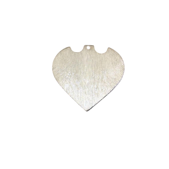 Medium Sized Silver Plated Copper Blank Pointed Heart/Shield Shaped Pendant Components- Measuring 23mm x 24mm -Sold in Packs of 10 (240A-SV)