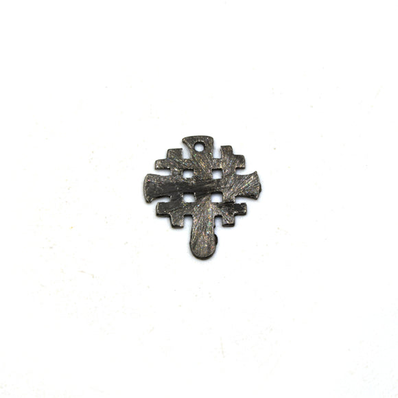 Gunmetal Plated Copper Hashmark/Crosshatch Medieval Cross Shaped Components - Measuring 15mm x 19mm - Sold in Packs of 10 (205-GM)