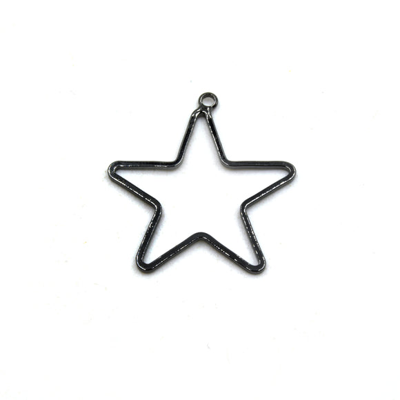Stars 28mm (4 Pk) Gunmetal Plated Open Star Shaped Pendant/Connector Components (One Ring) - (Pack of 4)