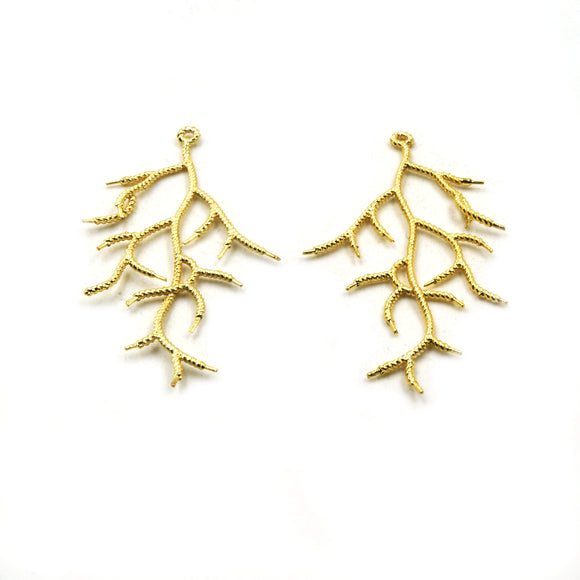 Jewelry Components | Gold Plated Copper Tree Branch Pendants | One Pair of Components | 28mm x 56mm