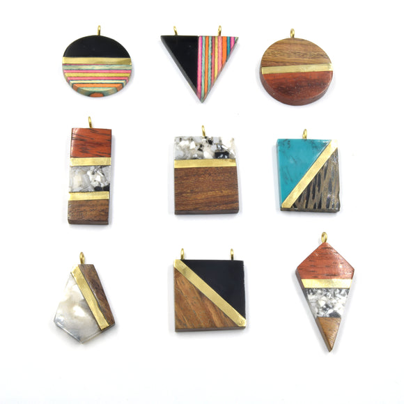 Acrylic Wood Pendants | Resin Pendants | Multiple Shapes and Sizes Available