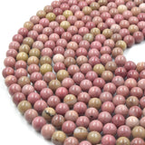 Rhodonite Beads | Smooth Pink Round Natural Gemstone Beads - 4mm 6mm 8mm 10mm 12mm