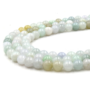 Natural Jade/Jadeite | UNENHANCED/UNTREATED 6mm Natural Smooth Glossy Jade Round Beads