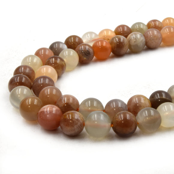 Natural Mixed Moonstone Beads | UNENHANCED/UNTREATED 8mm Natural Smooth Glossy Mixed Moonstone Round Beads