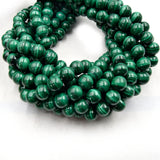 Natural Malachite Beads | UNENHANCED/UNTREATED 8mm Natural Smooth Glossy Green Malachite Round Beads
