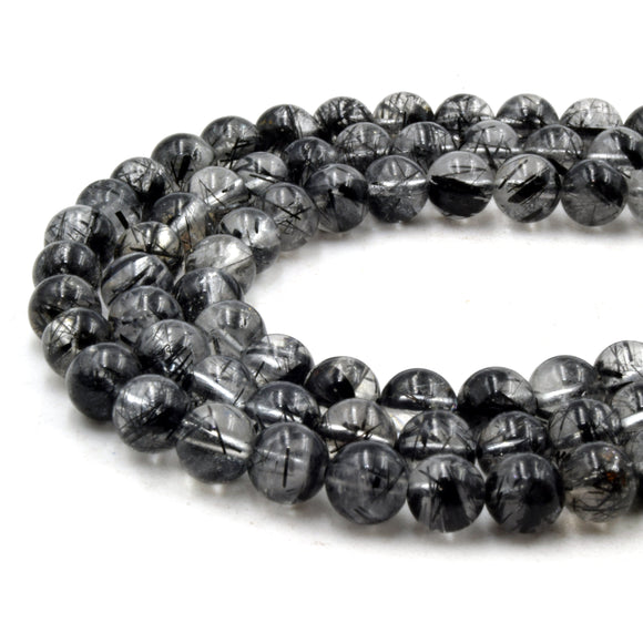 Natural Black Rutilated Beads | UNENHANCED/UNTREATED 6mm Natural Smooth Black Rutilated Quartz Round Beads