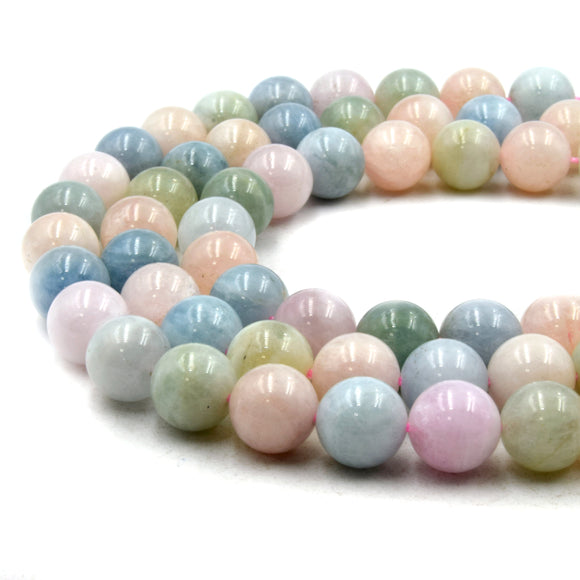 Natural Mix Beryl Beads | UNENHANCED/UNTREATED 10mm Natural Smooth Glossy Mixed Aquamarine Morganite Heliodor Emerald Round Beads