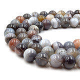 Natural Botswana Agate Beads | UNENHANCED/UNTREATED 12mm Natural Smooth Glossy Botswana Agate Round Beads