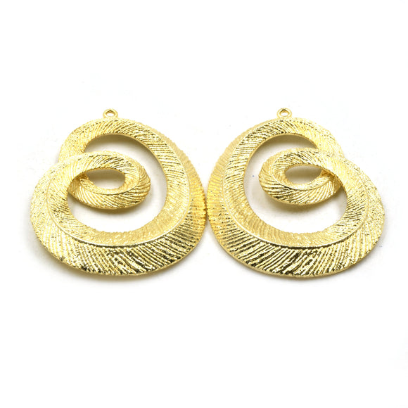 Jewelry Components | Gold Plated Copper Leaf Textured Pendants | One Pair of Components | 34mm x 48mm