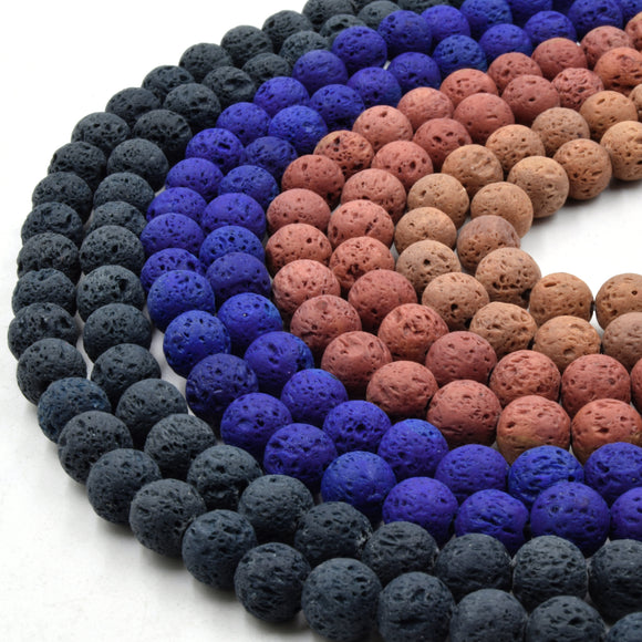 Lava Beads | Teal Blue Red Tan Round Diffuser Beads - 8mm Available