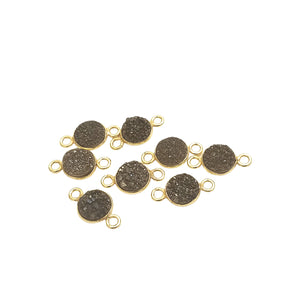 Druzy Agate Gold Finish Metallic Black Round/Coin Shaped Natural Bezel Connector Component - Measures 8mm x 8mm - Sold Individually