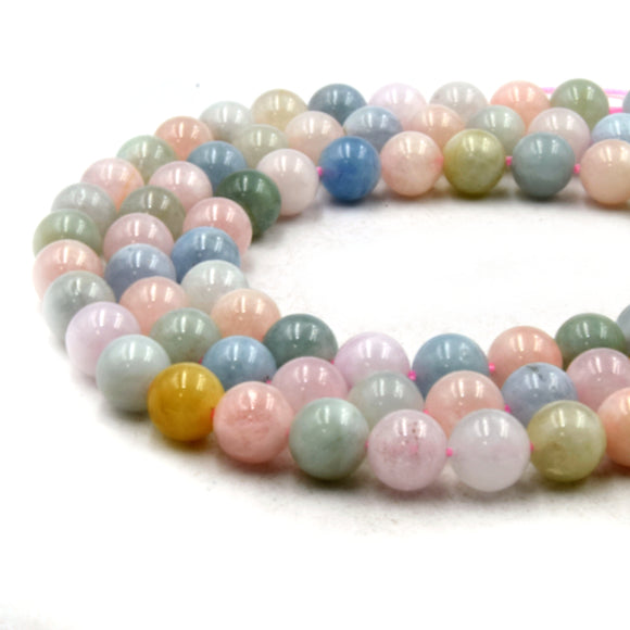 Natural Mix Beryl Beads | UNENHANCED/UNTREATED 8mm Natural Smooth Glossy Mixed Aquamarine Morganite Heliodor Emerald Round Beads