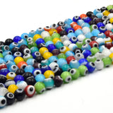Evil Eye Glass Beads | 6mm Multicolor Evil Eye Round Glass Beads | Sold by the Strand