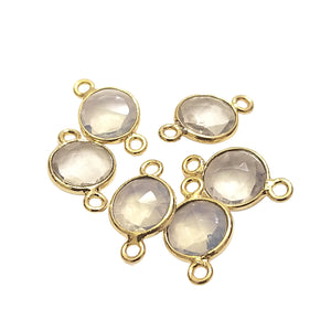 Opalite Gold Plated Faceted Translucent  (Manmade Glass) faux Opal Round/Coin Shaped Bezel Connector - Measuring 10mm  - Sold Individually