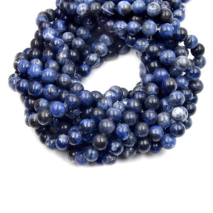 Sodalite Beads | Smooth Sodalite Round Beads | 4mm 6mm 8mm 10mm 12mm | Single or Bulk Lots Available