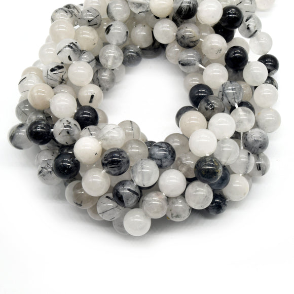 Black Tourmalinated Quartz Beads | Natural Smooth Black Rutilated Quartz Round Beads | 4mm 6mm 8mm 10mm 12mm Available