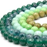 "Faceted Jade Beads | 10mm Faceted Dyed Green Jade Round Beads with 1mm Holes - Sold by 15.5"" Strands (~ 46 Beads)"
