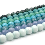 "Faceted Jade Beads | 12mm Faceted Dyed Green Gray Blue Jade Round Beads with 1mm Holes - Sold by 15.5"" Strands (~ 32 Beads)"