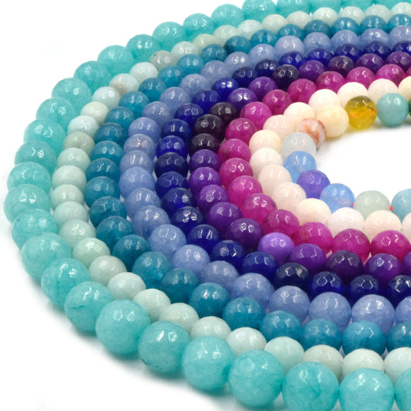 Faceted Jade Beads | Faceted Dyed Peach Mixed Purple Blue Mint Teal Fuchsia Turquoise Jade Round Beads | 6mm 8mm 10mm Available