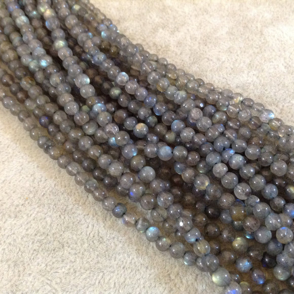 Smooth Labradorite Spherical Round Bead Strand, 3.5-4mm, approx. 90 beads per strand - High Quality Indian Gemstone