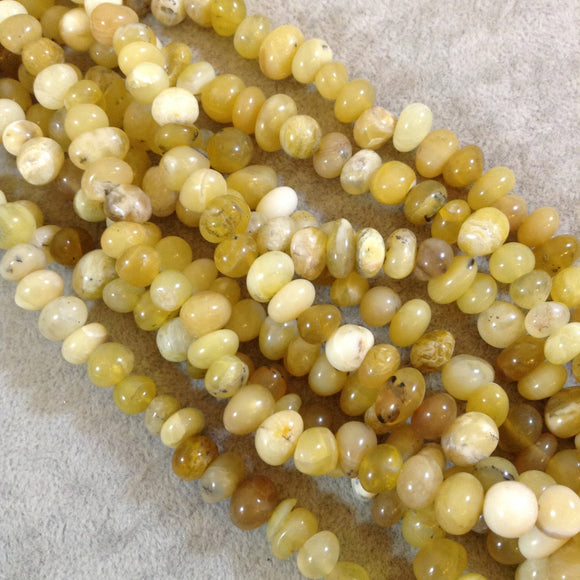 Smooth Yellow Opal Rounded Nugget Bead Strand, 6mm x 9mm, approx. 114 beads per DOUBLE strand