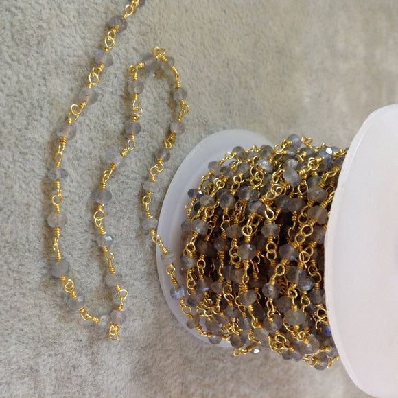 Gold Plated Copper Rosary Chain with 3mm Rondelle Labradorite Beads - Sold by the Foot, or in Bulk! - Natural Semi-Precious Beaded Chain