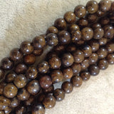 Large Hole (2.5mm) Bronzite Round Bead Strand, 8mm, approx. 27 beads per strand
