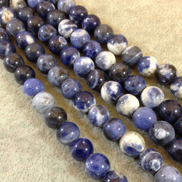 Large Hole (2.5mm) Sodalite Round Bead Strand, 12mm, approx. 17 beads per strand