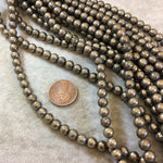 Pyrite Round Bead Strand, 6mm, approx. 65 beads per strand