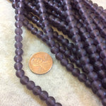 Matte Purple Glass Faceted Round Bead Strand, 6mm, approx. 66 beads per strand