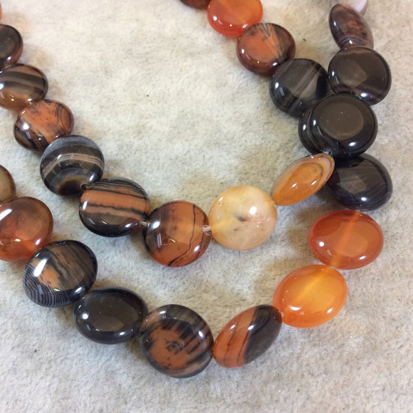 Reddish Brown Banded Agate Coin Beads, 15mm, approx. 26 beads per strand.