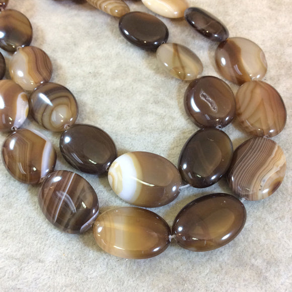 Beautiful Striped Brown Agate Oval Beads, 18mm x 25mm, approx. 16 beads per strand.