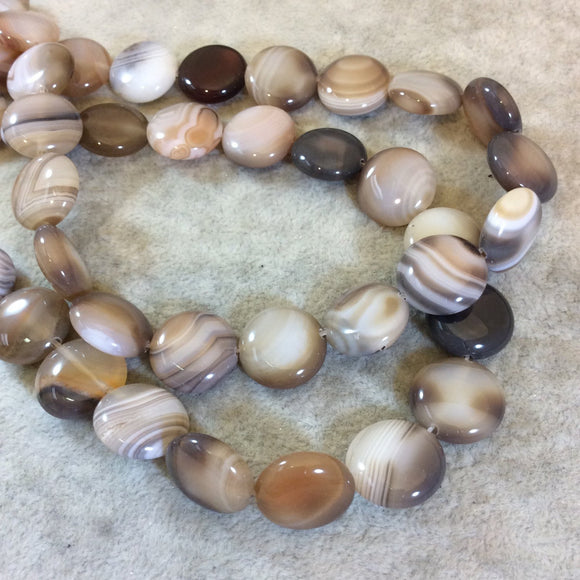 Light Brown Banded Agate Coin Beads, 15mm, approx. 26 beads per strand.