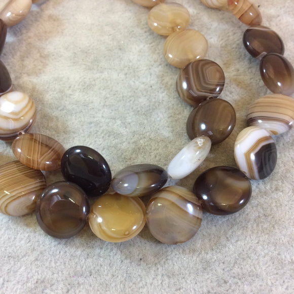 Beautiful Striped Brown Agate Coin Beads, 15mm, approx. 26 beads per strand.